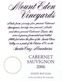 2006 Estate Bottled Cabernet Sauvignon, Santa Cruz Mountains