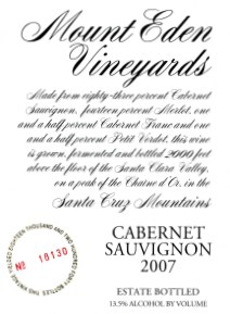 2007 Mount Eden Estate Bottled Cabernet Sauvignon, Santa Cruz Mountains