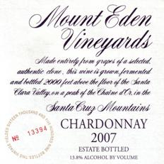 2007 Mount Eden Estate Bottled Chardonnay, Santa Cruz Mountains