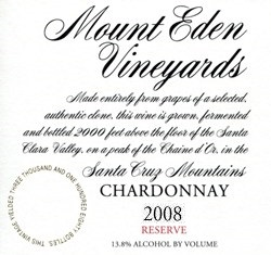 2008 Mount Eden  RESERVE Chardonnay, Santa Cruz Mountains