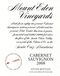 2008 Mount Eden Estate Bottled Cabernet Sauvignon, Santa Cruz Mountains