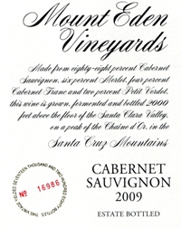 2009 Mount Eden Estate Bottled Cabernet Sauvignon, Santa Cruz Mountains