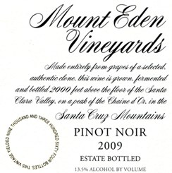 2009 Mount Eden Estate Bottled Pinot Noir, Santa Cruz Mountains MAIN