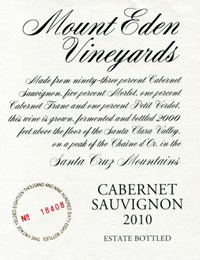 2010 Mount Eden Estate Bottled Cabernet Sauvignon, Santa Cruz Mountains