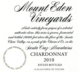 2010 Mount Eden Estate Bottled Chardonnay, Santa Cruz Mountains