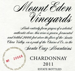 2011 Mount Eden Estate Bottled Chardonnay, Santa Cruz Mountains