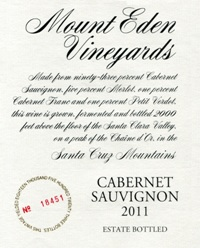 2011 Mount Eden Estate Bottled Cabernet Sauvignon, Santa Cruz Mountains