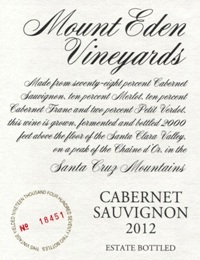 2012 Mount Eden Estate Bottled Cabernet Sauvignon, Santa Cruz Mountains