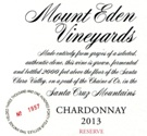 2013 Mount Eden  RESERVE Chardonnay, Santa Cruz Mountains