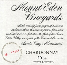 2014 Mount Eden Estate Bottled Chardonnay, Santa Cruz Mountains