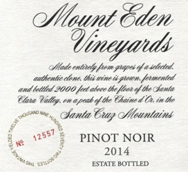 2014 Mount Eden Estate Bottled Pinot Noir, Santa Cruz Mountains