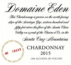 2015 Domaine Eden Chardonnay, Santa Cruz Mountains MAIN