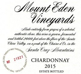 2015 Mount Eden Estate Bottled Chardonnay, Santa Cruz Mountains MAIN