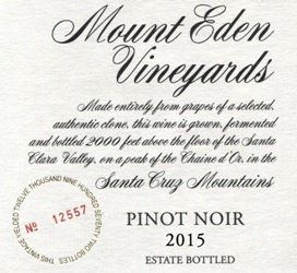 2015 Mount Eden Estate Bottled Pinot Noir, Santa Cruz Mountains MAIN
