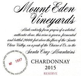 2015 Mount Eden  RESERVE Chardonnay, Santa Cruz Mountains MAIN