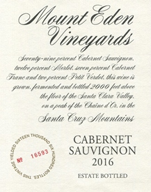 2016 Mount Eden Estate Bottled Cabernet Sauvignon, Santa Cruz Mountains MAIN