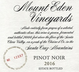 2016 Mount Eden Estate Bottled Pinot Noir, Santa Cruz Mountains MAIN