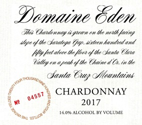 2017 Domaine Eden Chardonnay, Santa Cruz Mountains MAIN
