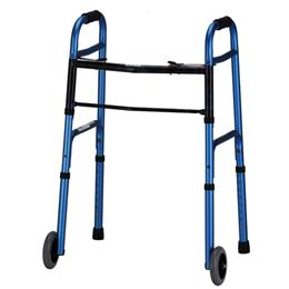 "Nova Lightweight Aluminium Folding Walkers with 5"" Wheels in Blue"