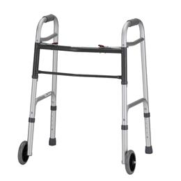 "Nova Lightweight Aluminum Folding Walkers with 5"" Wheels"