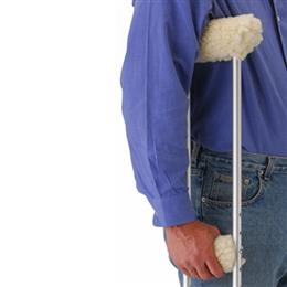 Sheepskin-like Fleece Covers for Crutches THUMBNAIL