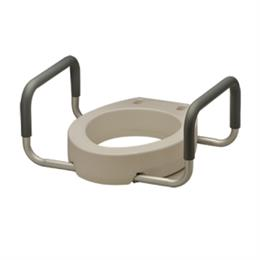 "Elevated Toilet Seat, 3 1/2"" High, Round or Elongated with Arms THUMBNAIL"