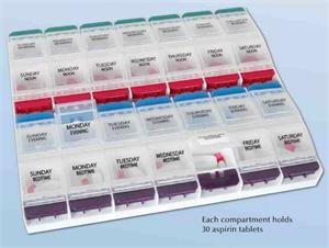 Pill Reminder, 28 Compartment, Arthritis Friendly