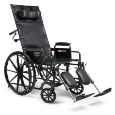 "Reclining Wheelchair 18"" Advantage Series Recliner, Desk Length Arms and Elevating legs"