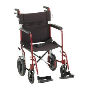 Wheelchair, 20 inch Transport/Companion Lightweight, Larger Rear Wheels