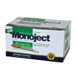 Insulin Syringe, Monoject, 1 cc, 29 gauge