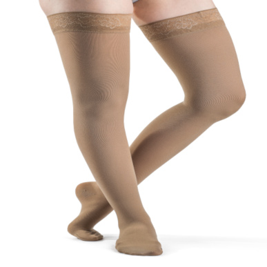 Compression Sock, Soft Opaque, Women's Thigh High with Grip-Top, Closed Toe, 15-20 mmHg