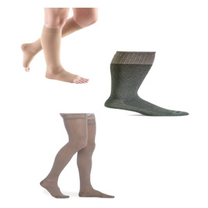 photo of open toe knee high compression stockings, closed toe Bart Compression Sock, thigh high compression stocking