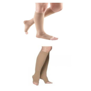 photo of unisex comfort knee high open toe compression sock, soft opaque series knee high open toe compression sock
