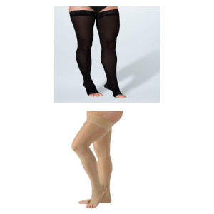 Thigh High Compression Stockings, Open Toe, 15-20 mmHg