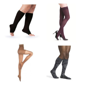 photo of soft opaque series knee high, Assure panty compression hose, Soft Opaque series thigh high, microfiber pattern