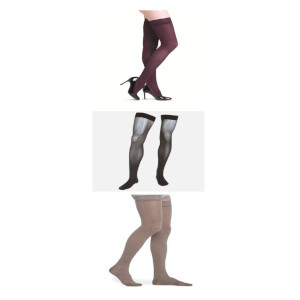 photo of Assure unisex thigh high, microfiber series men's thigh high, soft opaque series thigh high compression sock