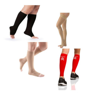 photo of soft opaque series knee high open toe compression sock, Comfort unisex knee high, high tech seris sleeve