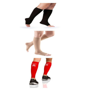 Knee High Compression Socks, Open Toe, 20-30 mmHg