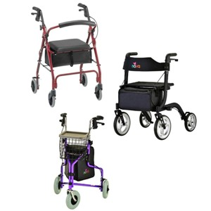 Photo of Nova Traveler and Nova Express and 4 wheeled walker with seat.