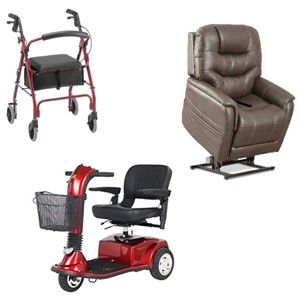photo of a 4-wheeled walker rollator, scooter and lift chair.