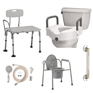 photo of economy transfer bench with back, Steel commode, raised toilet seat with arms, hand held shower kit, grab bar