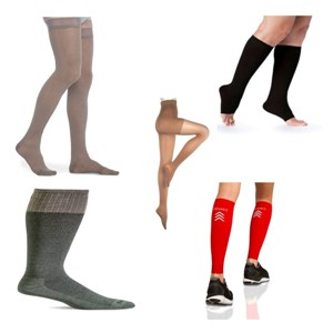 photo of compression sleeve, open toe compression sock, panty hose compression stockings, microfiber thigh high thi