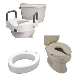 photo of Nova Elevated toilet seat, padded toilet seat riser, nova raised toilet seat with arms
