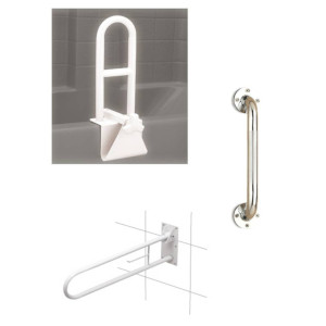 photo of bi-level tub grab bar, fold away grab bar, knurled chrome grab bar