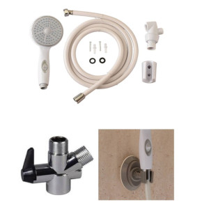 photo of shower diverter, showerhead suction cup holder, hand held shower kit