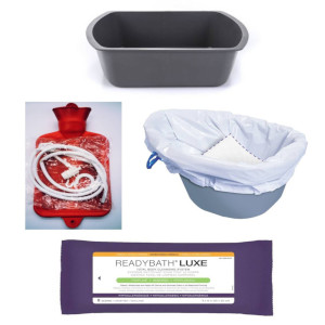 photo of wash basin, carebag commode liners, enema douche water bottle fountain syringe kit, readybath luxe washcloths