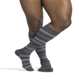 Compression Sock, Microfiber Shades, Men's Knee High, 15-20 mmHG