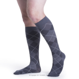 Compression Sock, Microfiber Shades, Men's Knee High, Closed Toe, 20-30 mmHg
