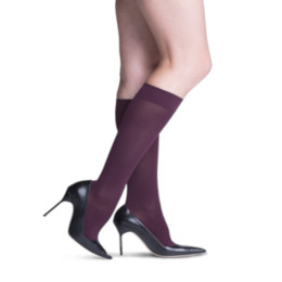 Compression Sock, Soft Opaque, Women's Knee High, Closed Toe, 20-30 mmHg