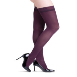 Compression Sock, Soft Opaque, Women's Thigh High with Grip-Top, Closed Toe, 20-30 mmHg
